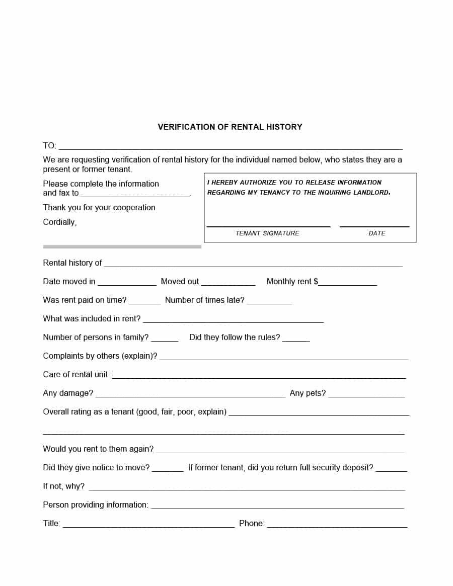 Landlord Verification form Template Landlord Verification form the Ultimate Revelation