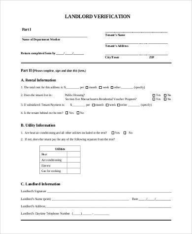 Landlord Verification form Template Sample Landlord Verification form 7 Free Documents In