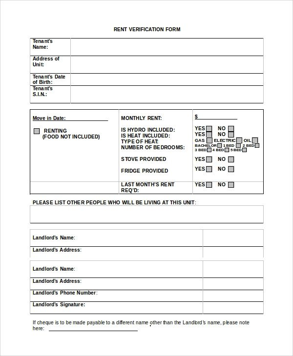 Landlord Verification form Template Sample Rental Verification form 10 Examples In Pdf Word