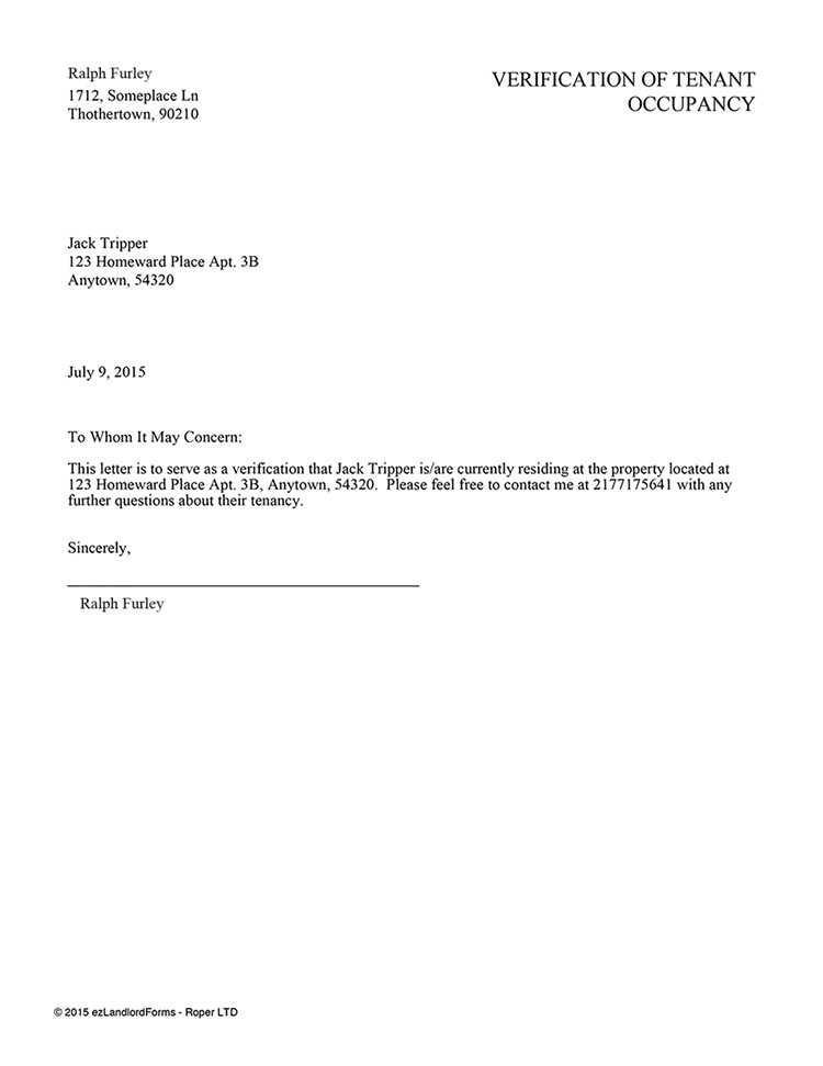 Landlord Verification form Template Tenant Verification Letter