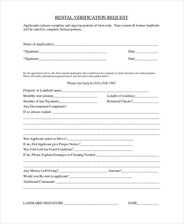 Landlord Verification form Template Verification form Templates
