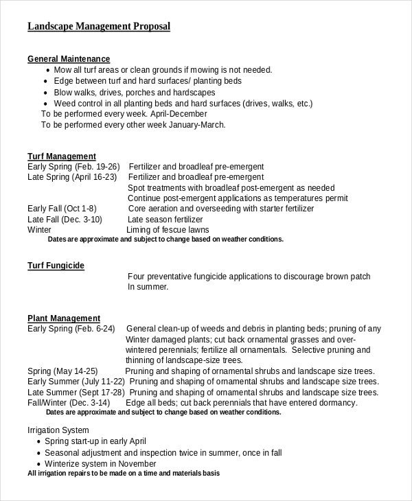 Landscaping Proposal Template Free 6 Landscaping Proposal Examples & Samples Word Pdf