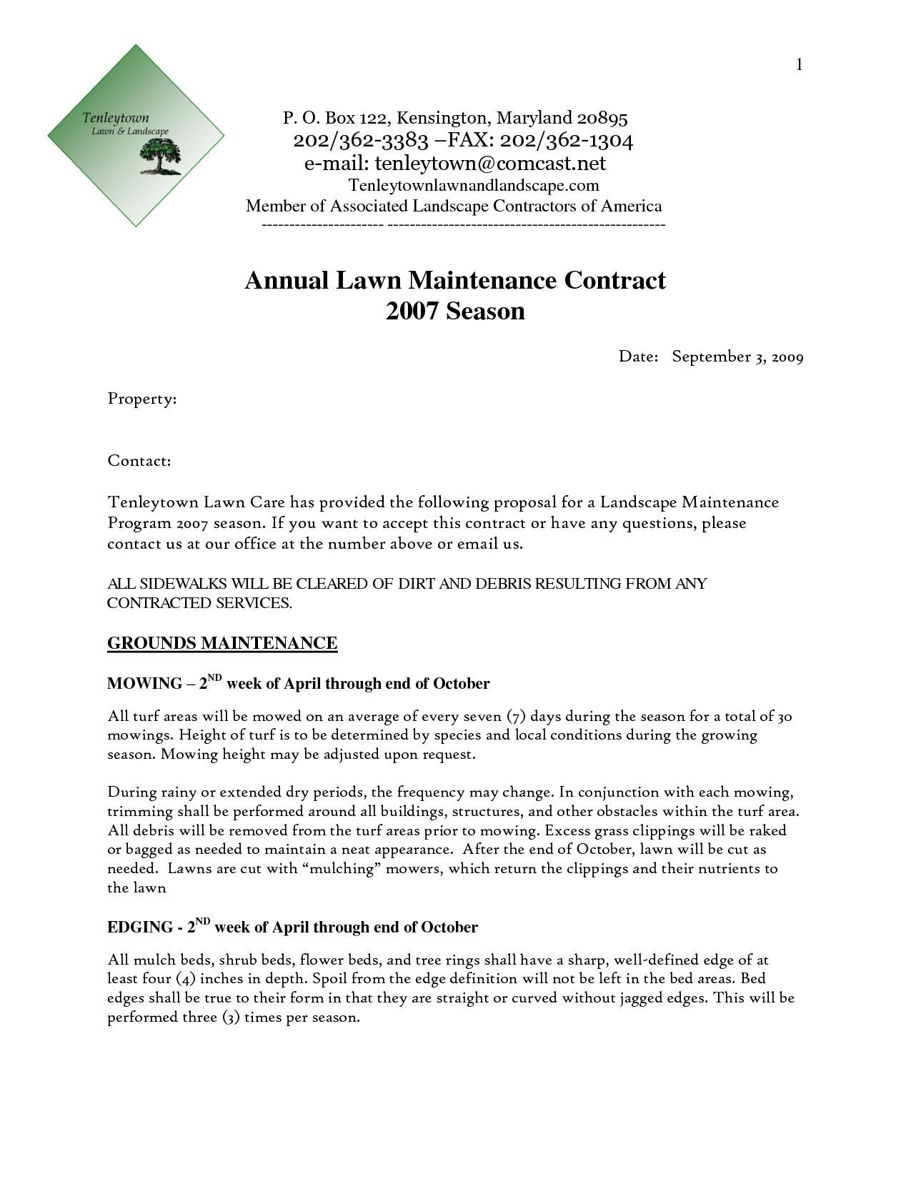 Landscaping Proposal Template Free Grounds Maintenance Proposal Template