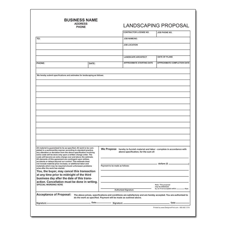 Landscaping Proposal Template Free Landscaping Invoice Work order
