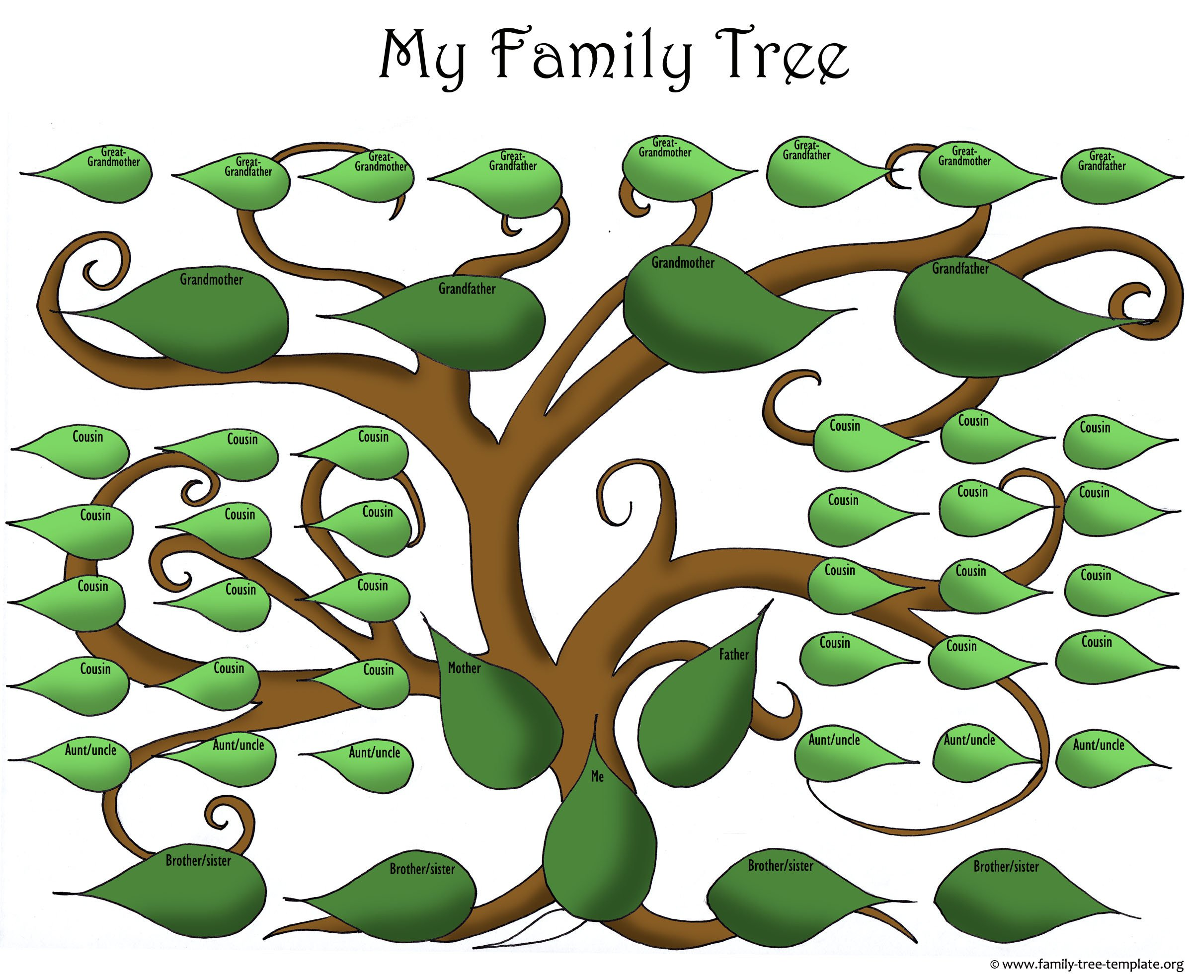 Large Family Tree Templates A Printable Blank Family Tree to Make Your Kids Genealogy
