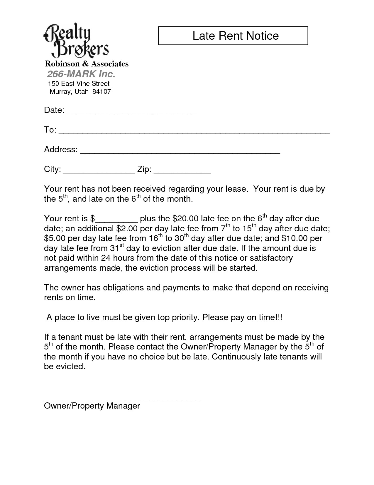 Late Rent Notice Template Late Rent Notice Template Images Sample Late Rent Notice
