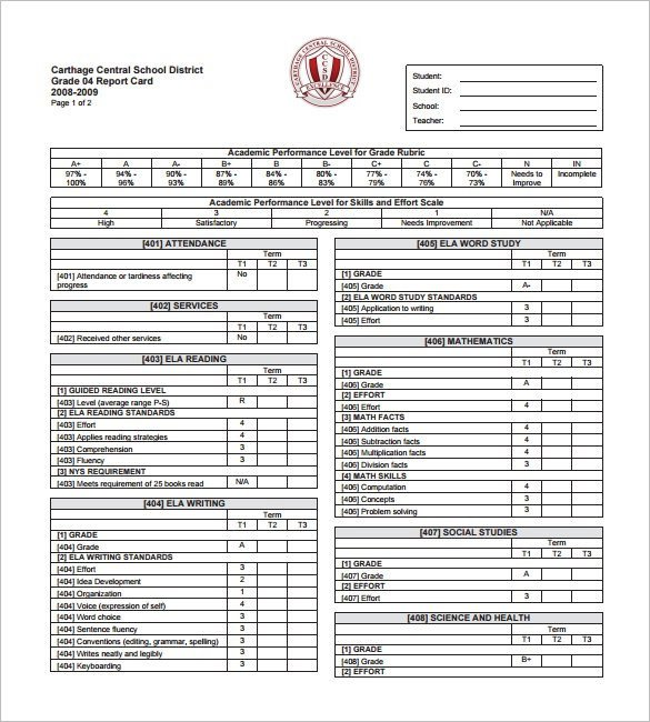 Lausd Report Card Template 14 Progress Report Card Templates Word Pdf Docs Pages