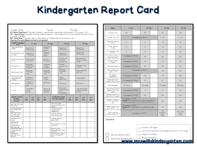 Lausd Report Card Template assessment and Report Cards for Kindergarten
