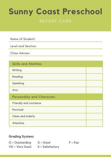 Lausd Report Card Template Customize 9 033 Report Card Templates Online Canva