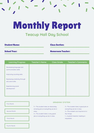 Lausd Report Card Template Customize 9 033 Report Card Templates Online Canva
