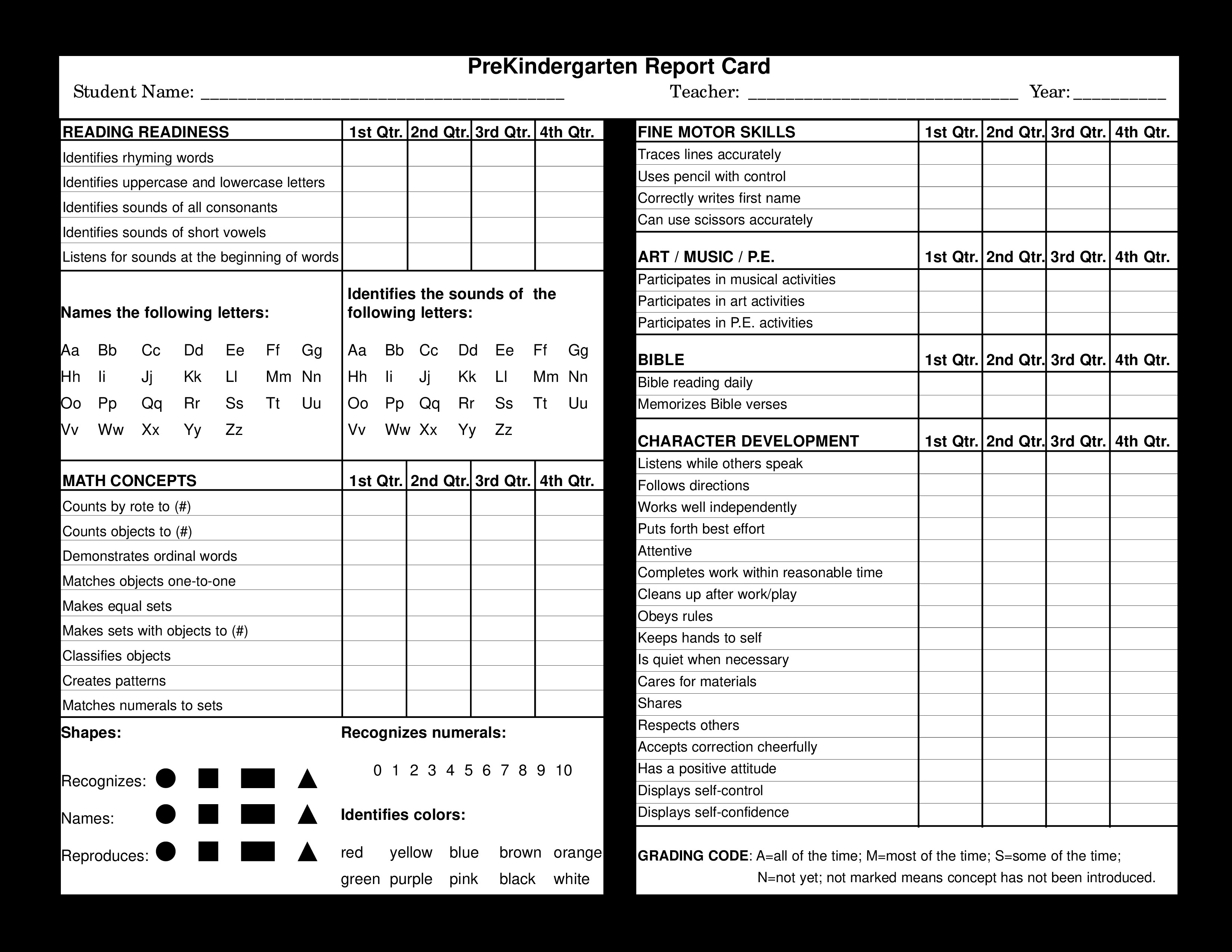Lausd Report Card Template Preschool Report Card