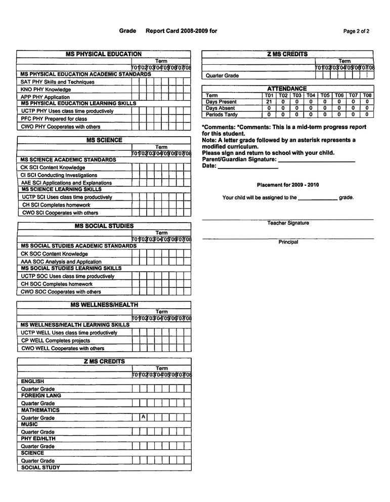 "Lausd Report Card Template School Information System Madison S ""standards Based"
