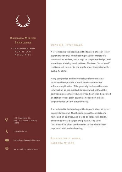 Law Firm Letterhead Template Red Sidebar Law Firm Letterhead Templates by Canva