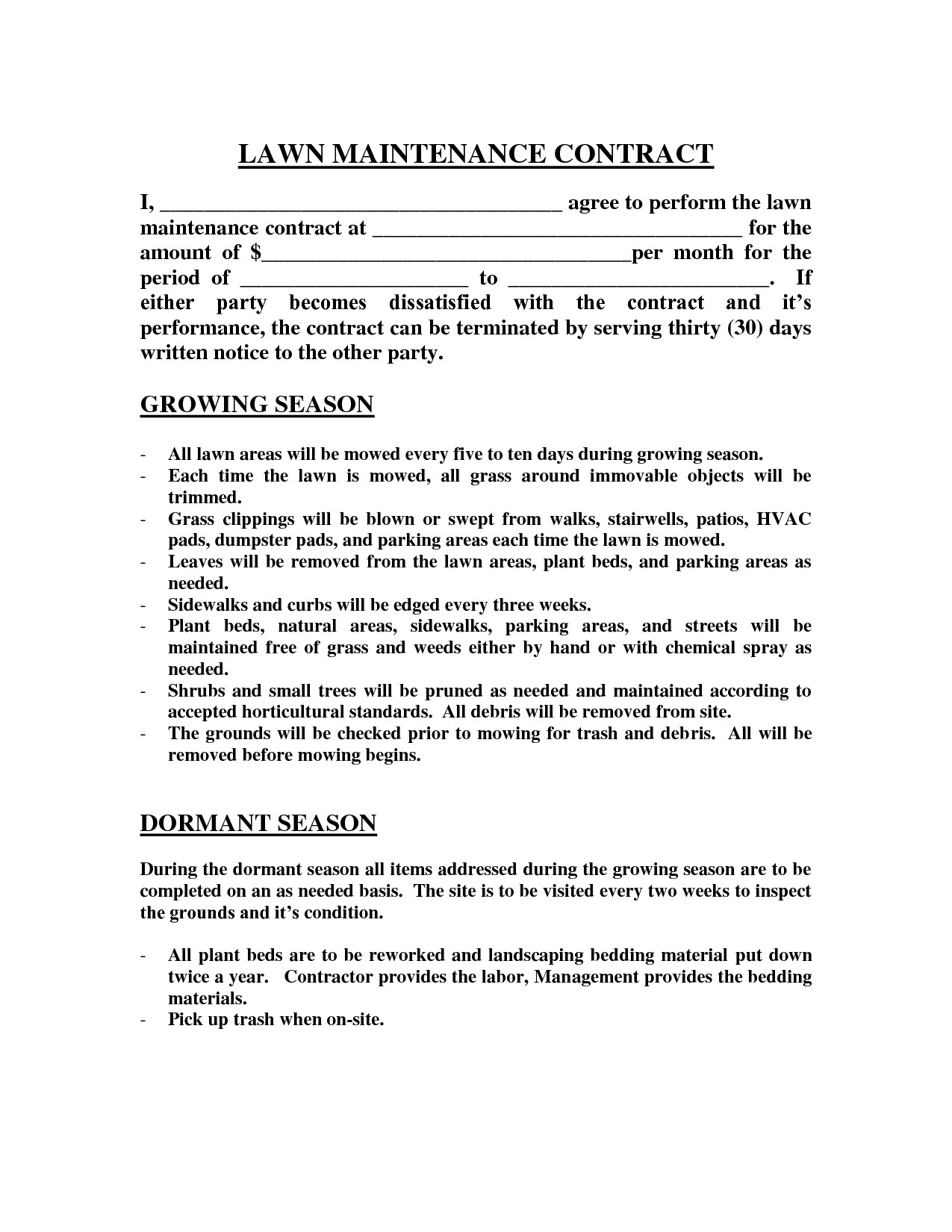 Lawn Care Bid Template Lawn Maintenance Contract Agreement Free Printable Documents