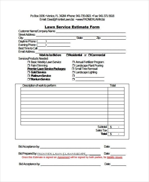 Lawn Care Bid Template Sample Service Estimate Template 7 Free Documents