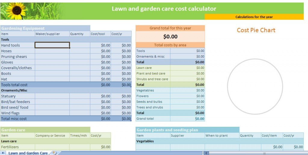 Lawn Care Business Expenses Spreadsheet Lawn and Garden Calculator Template