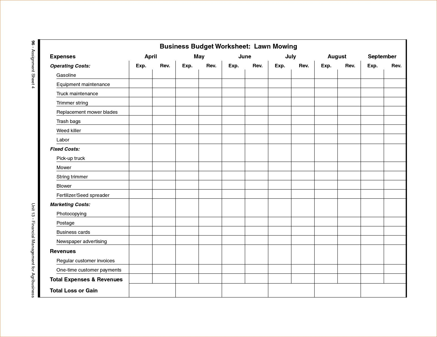 Lawn Care Business Expenses Spreadsheet Lawn Care Schedule Spreadsheet – Db Excel