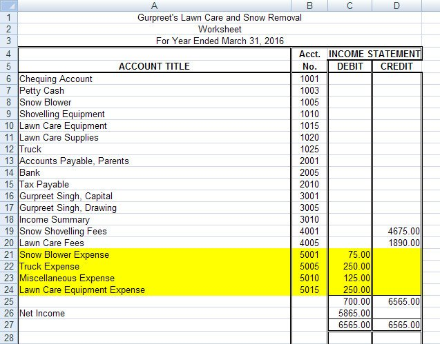 Lawn Care Business Expenses Spreadsheet Project 2 Page 2