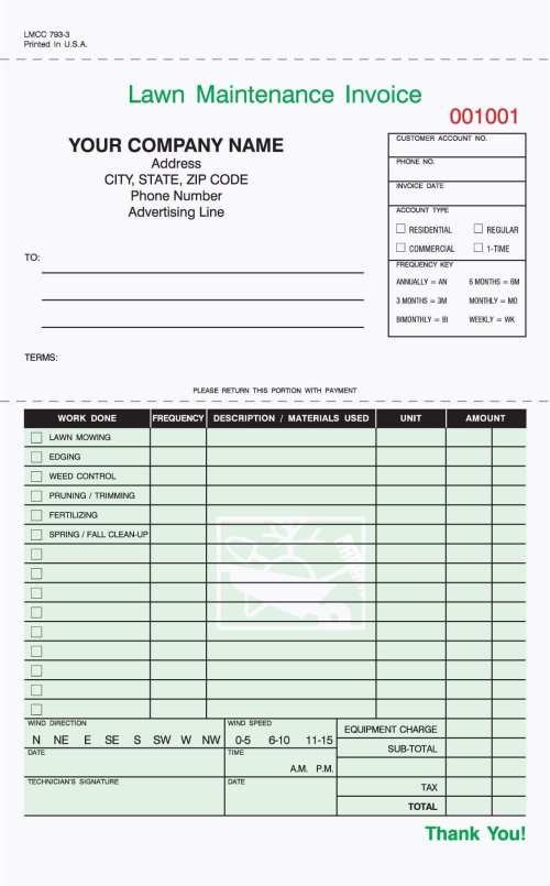 Lawn Care Estimate form 1 Part Landscaping Work order Invoice 8 1 2