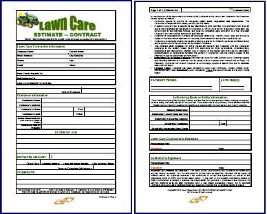 Lawn Care Estimate form Free Printable Lawn Care Contract form Generic