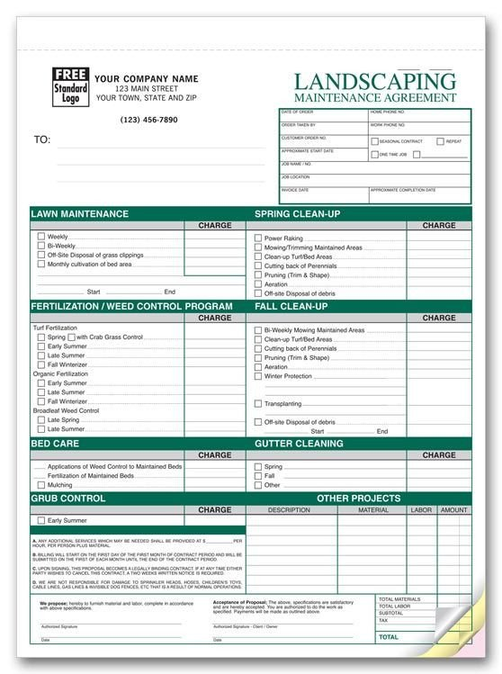 Lawn Care Estimate form Free Printable Lawn Service Contract form Generic