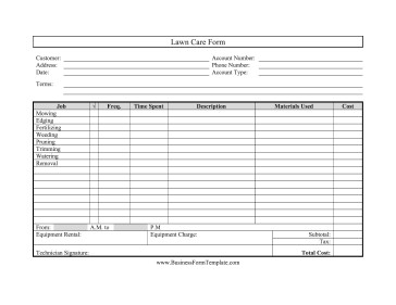 Lawn Care Estimate form Lawn Care form Template