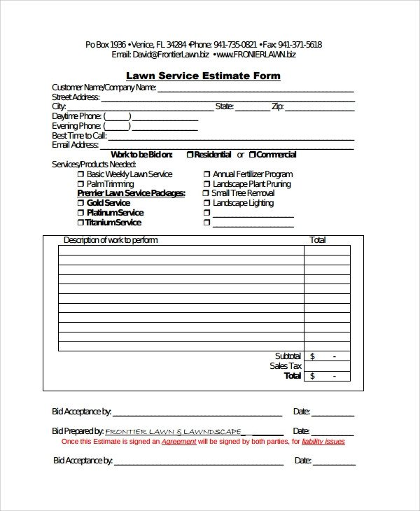 Lawn Care Estimate form Sample Service Estimate Template 7 Free Documents