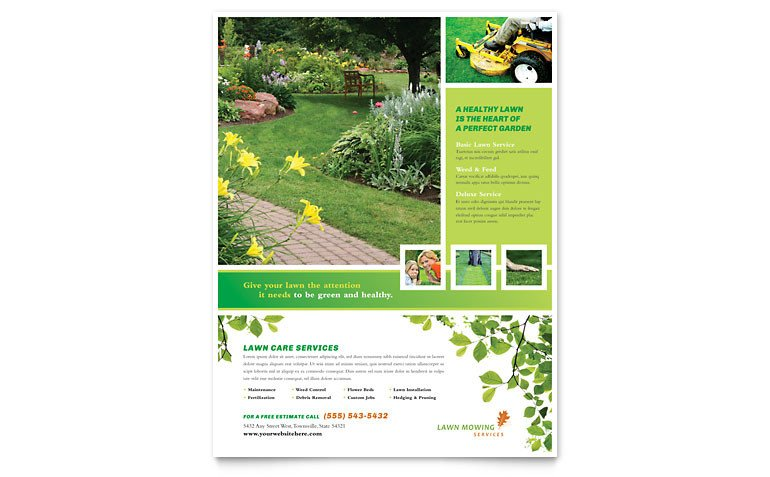 Lawn Care Flyer Template Free Lawn Mowing Service Flyer Template Word & Publisher
