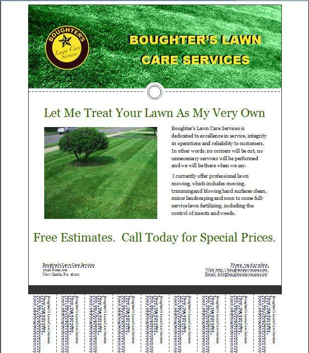 Lawn Care Flyer Template Free Mark's Lawn Care Business Flyer