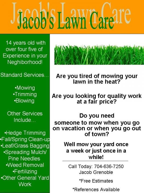 Lawn Care Flyer Template Free My Lawn Care Flyer What Do You Think