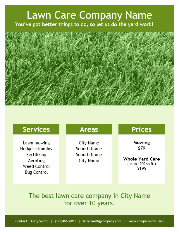 Lawn Care Flyer Template Word Lawn Care Flyer Template for Word
