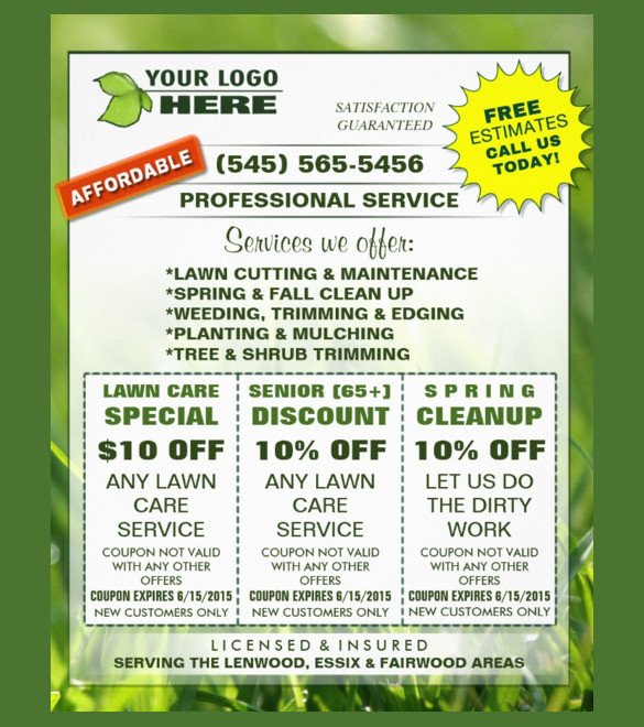Lawn Care Flyers Template 19 Coupon Flyer Templates Psd Indesign