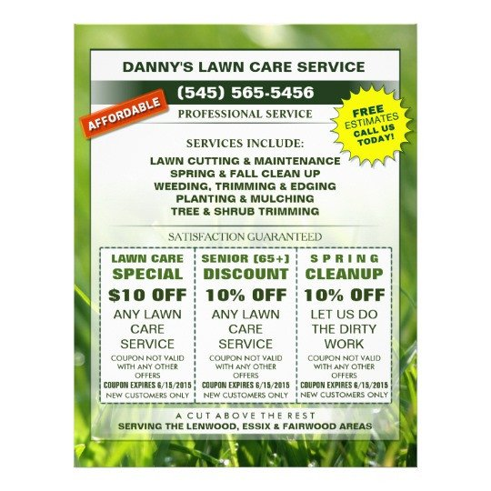 Lawn Care Flyers Template Lawn Care 8 5 X 11 Coupon Promotion Business Flyer