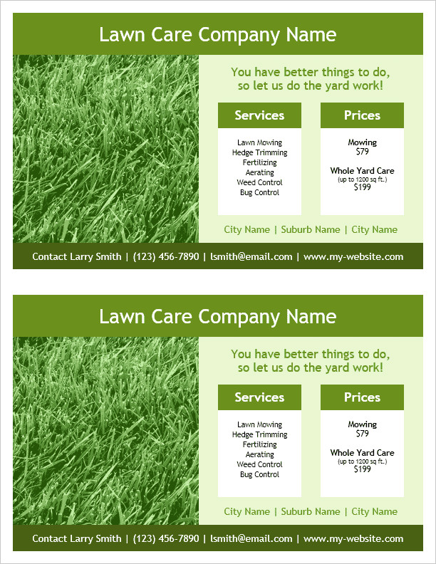 Lawn Care Flyers Template Lawn Care Flyer Template for Word