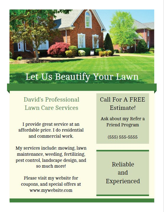 Lawn Care Flyers Template Printable Lawn Care Business Flyer Templates
