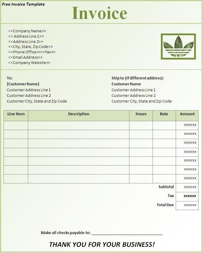 Lawn Care Invoice Template Free Invoice Template Downloads