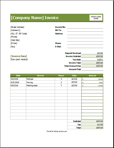 Lawn Care Invoice Template Lawn Care Invoice Template for Excel