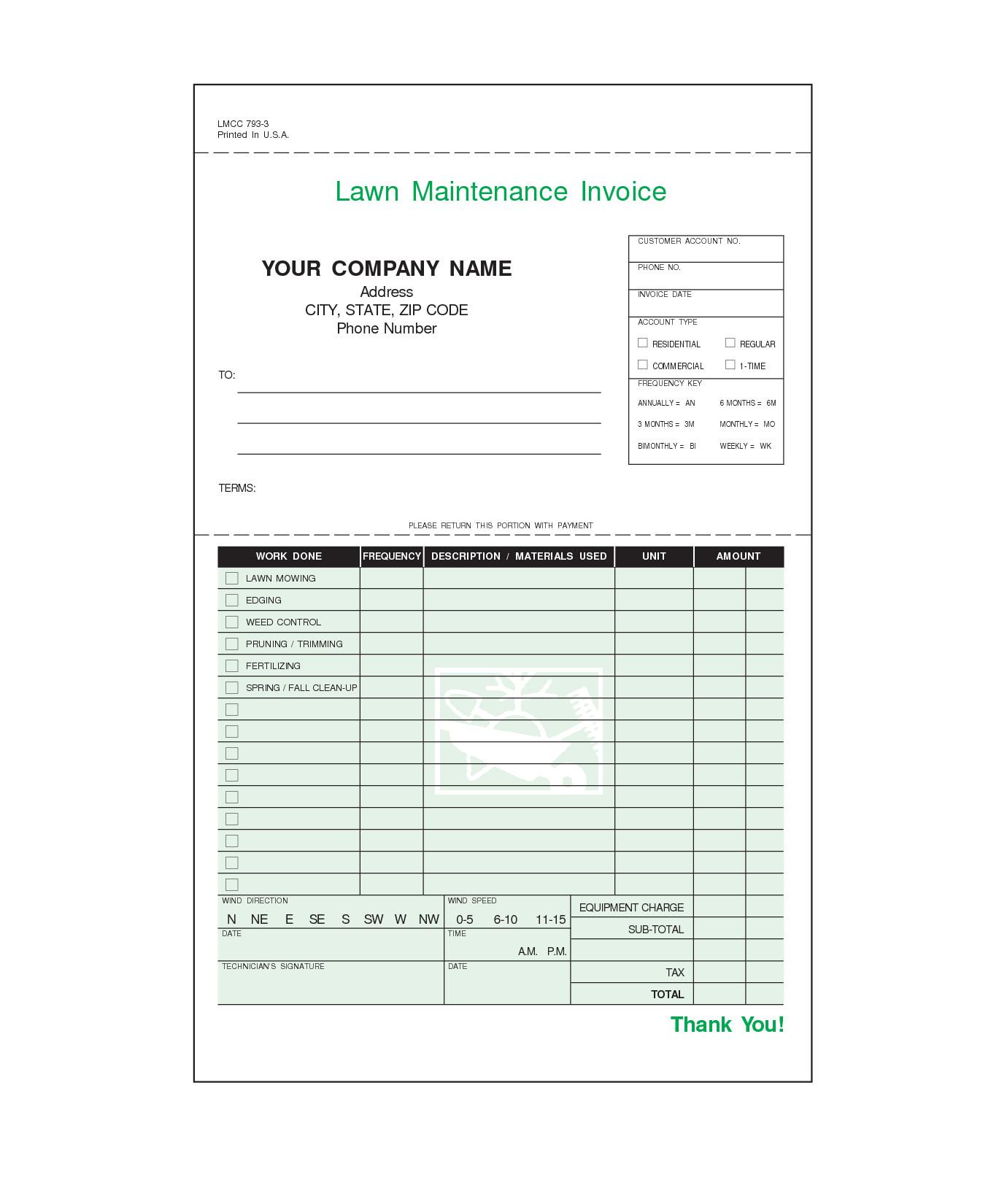 Lawn Care Invoice Template Lawn Care Invoice Template