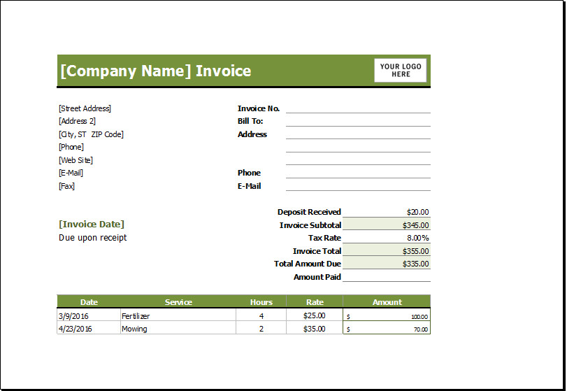 Lawn Care Invoice Template Lawn Mowing Receipt