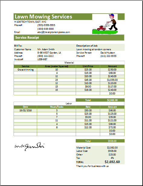 Lawn Care Invoice Template Lawn Mowing Receipt Template at Receipts Templates
