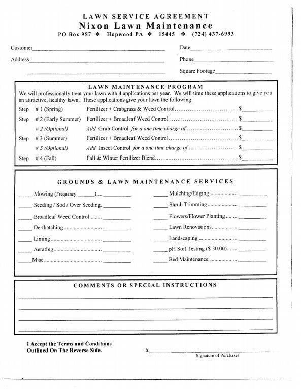Lawn Care Proposal Template Free Free Printable Lawn Care Contract form Generic