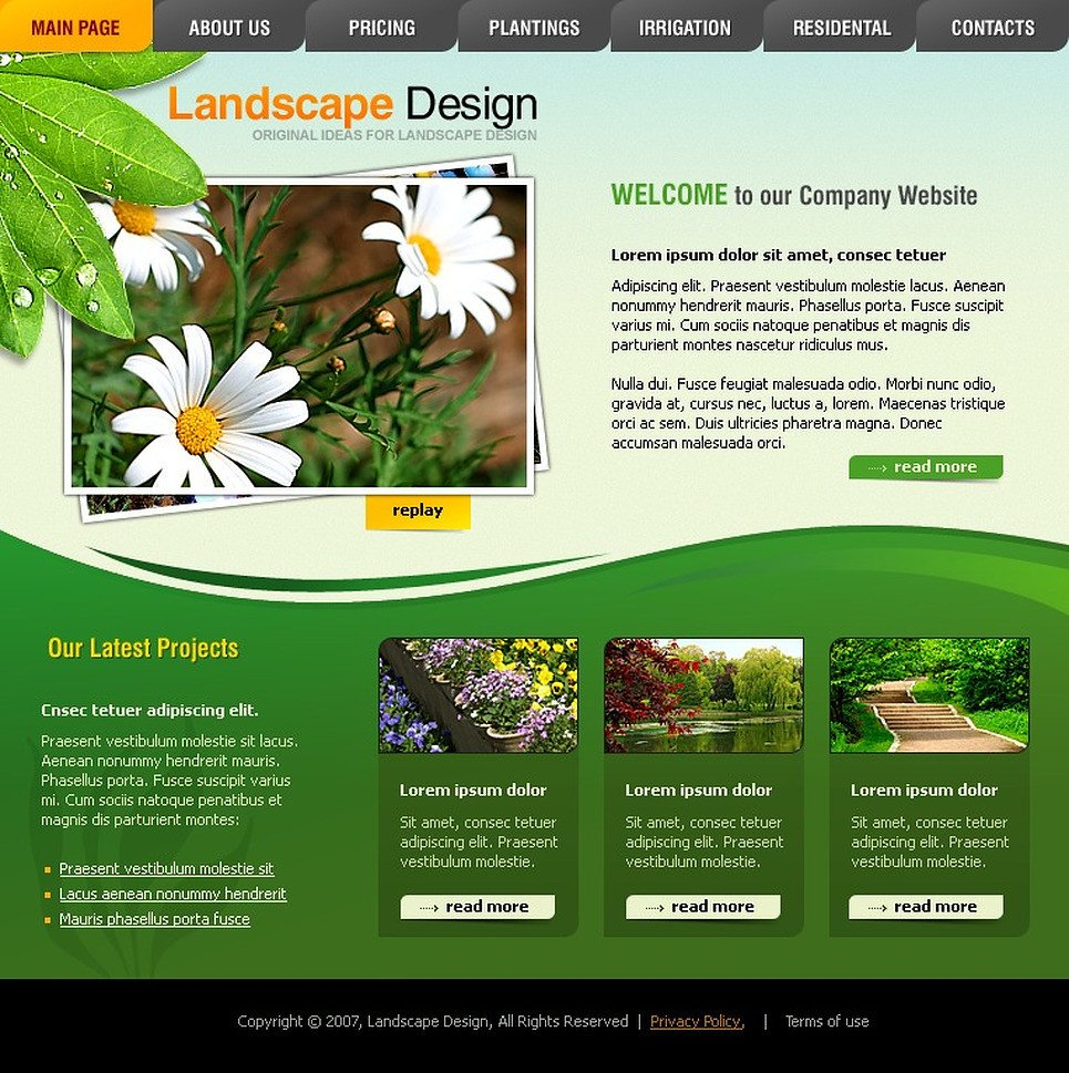 Lawn Care Website Template Landscape Design Flash Template