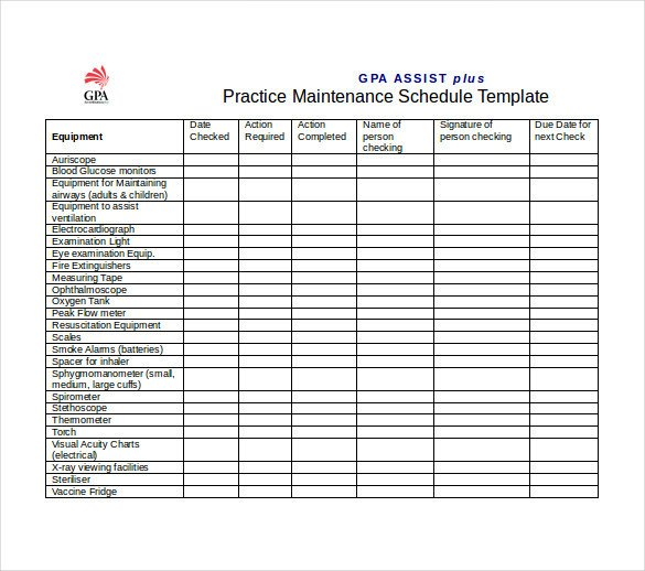 Lawn Maintenance Schedule Template Maintenance Schedule Template 37 Free Word Excel Pdf