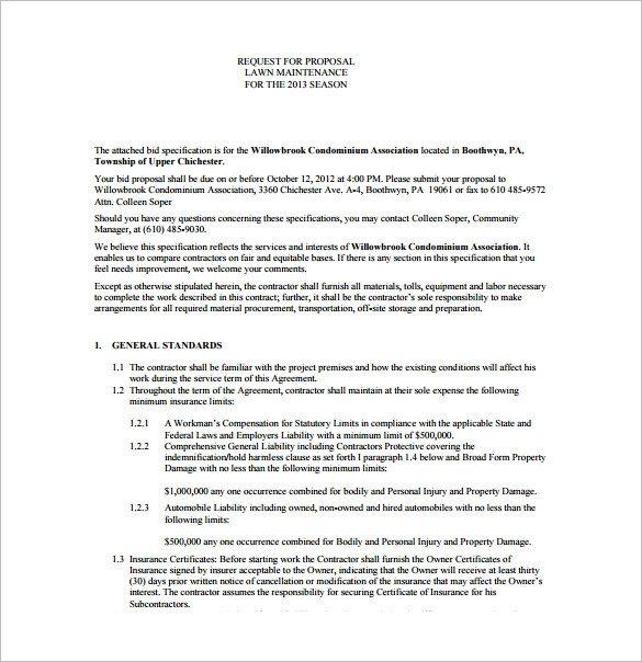 Lawn Service Proposal Template Free Bid Proposal Template 17 Free Sample Example format