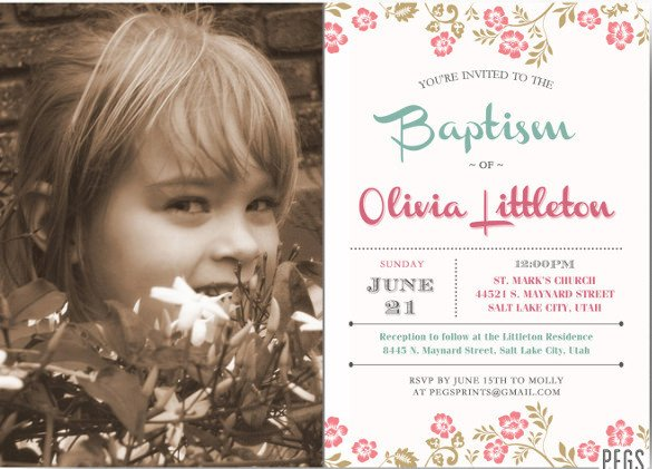 Lds Baptism Announcement Template Free 30 Baptism Invitation Templates – Free Sample Example