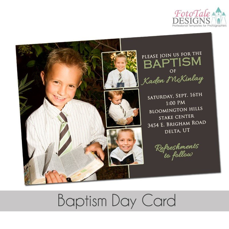 Lds Baptism Announcement Template Free Baptism Day Invitation Custom Photoshop Template