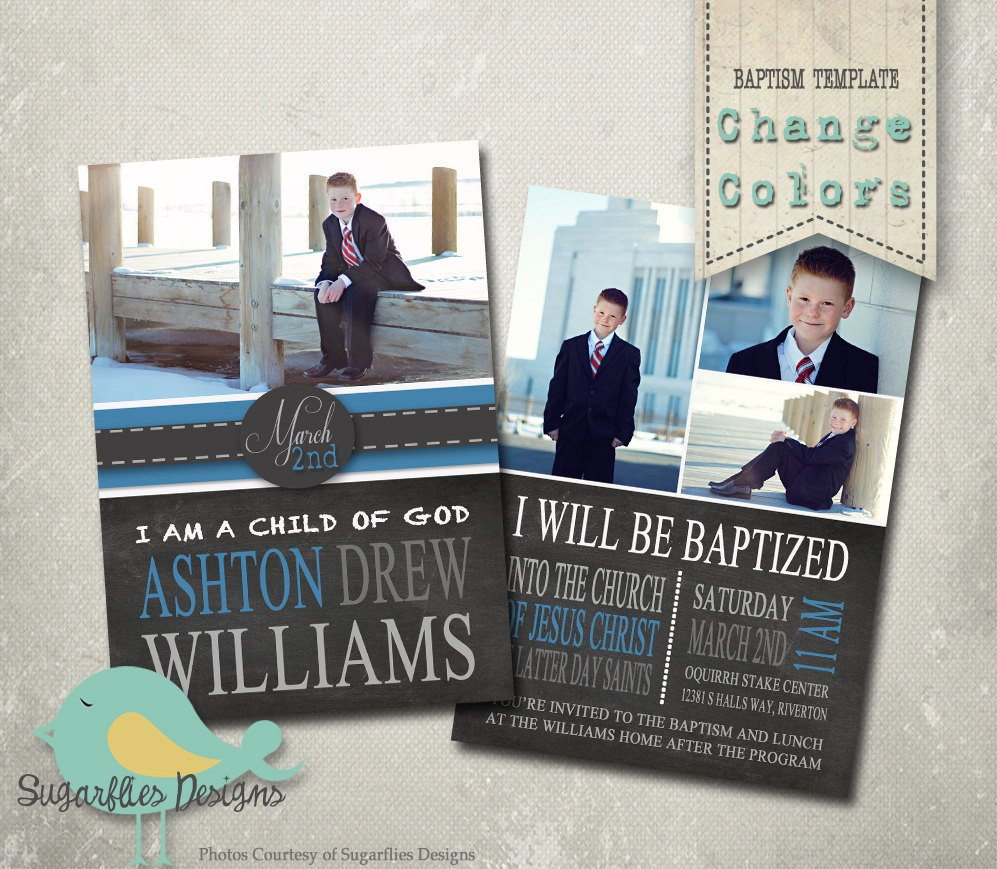 Lds Baptism Announcement Template Free Baptism Invitation Photoshop Template Baptism Boy 01