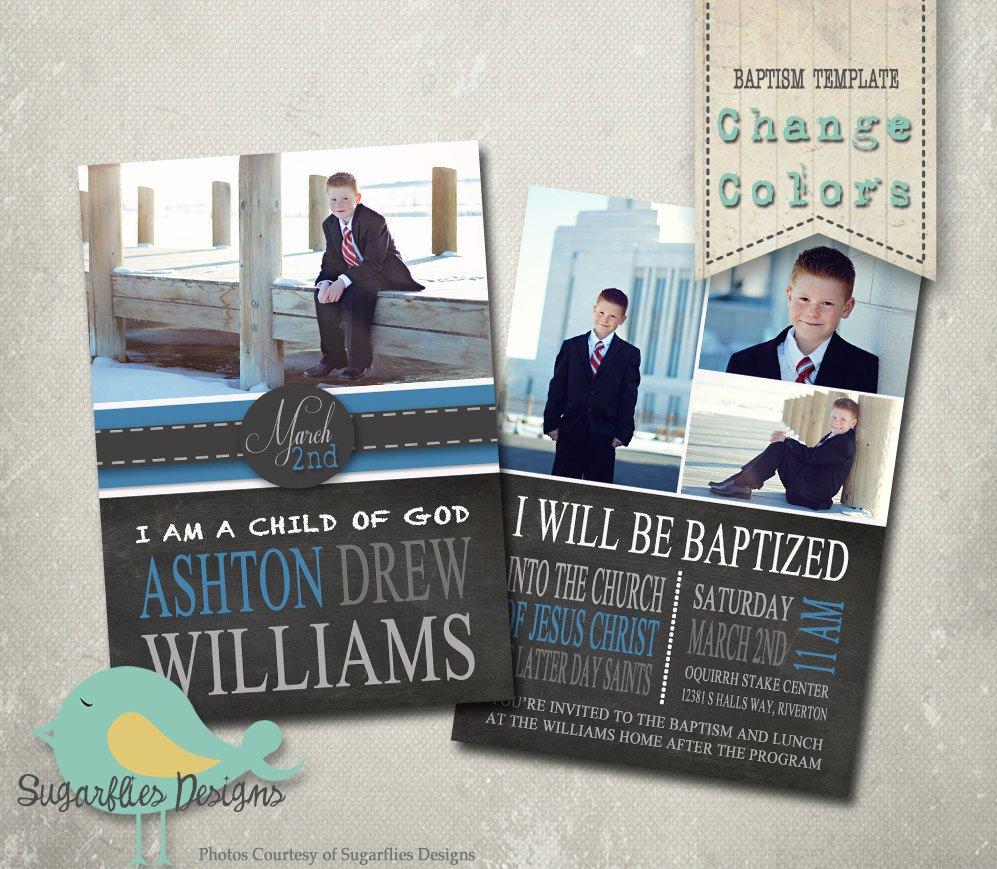 Lds Baptism Invitation Template Baptism Invitation Photoshop Template Baptism Boy 01