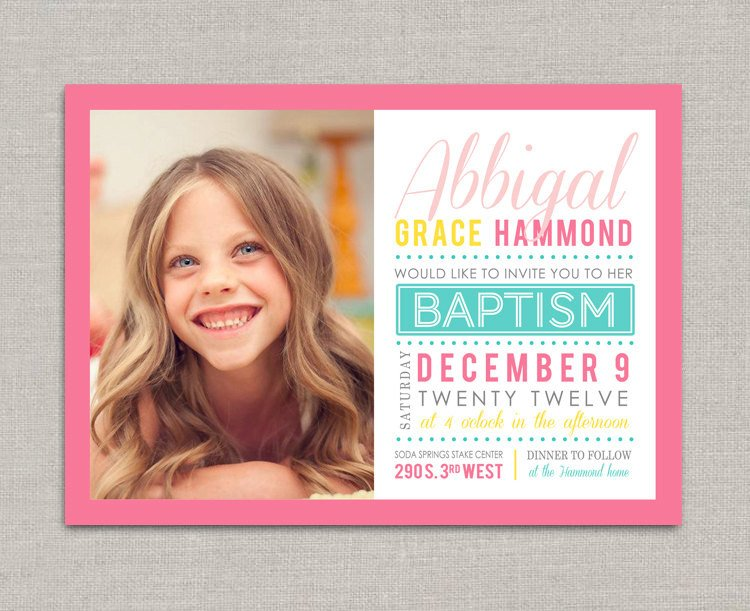 Lds Baptism Invitation Template Lds Baptism Invitation Abbigal