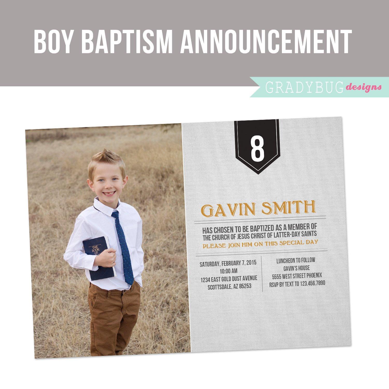 Lds Baptism Invitation Template Lds Baptism Invitation Boys Baptism by Gradybugdesigns On Etsy